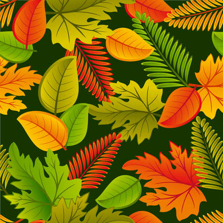 Seamless from leaves on a black background (can be repeated and scaled in any size) Vector