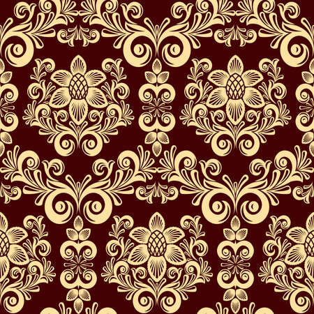 Seamless from leaves and flowers on red  background (can be repeated and scaled in any size) Vector