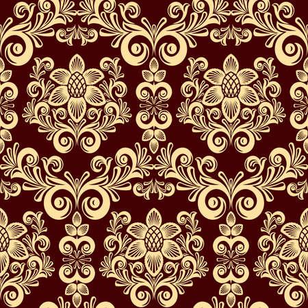 effortless: Sin fisuras de las hojas y flores sobre fondo rojo (puede repetirse y ampliarse en cualquier tama�o) Vectores