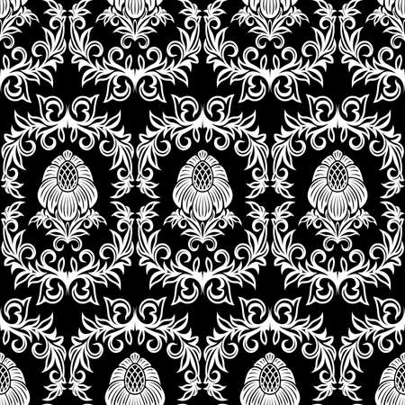 Seamless from leaves and flowers on black background (can be repeated and scaled in any size) Vector