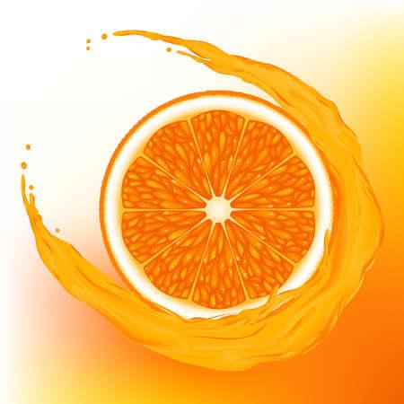 fruited: A  orange with a wave juice on  orange background