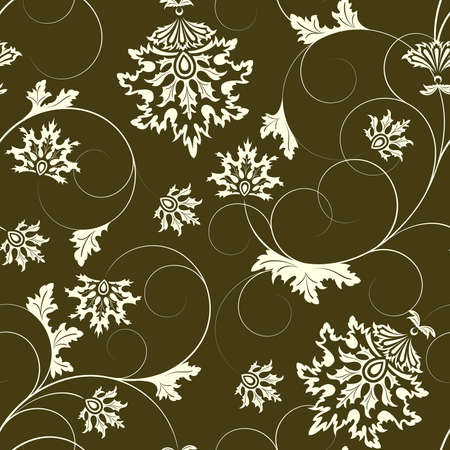 Brown  seamless from  flowers and leaves(can be repeated and scaled in any size) Vector