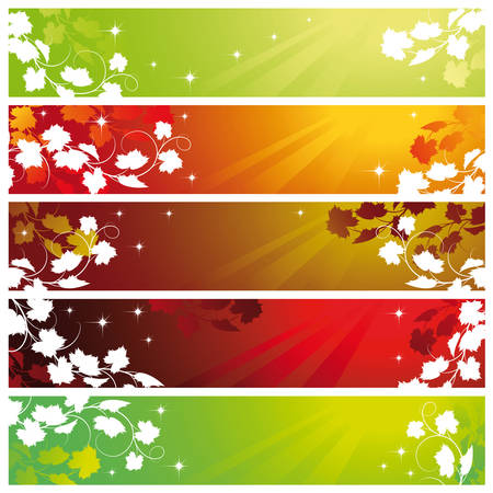 Set of five banners with vine, Mask Vector