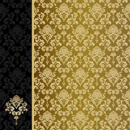 Background with gold flowers and leaves Stock Vector - 5397706