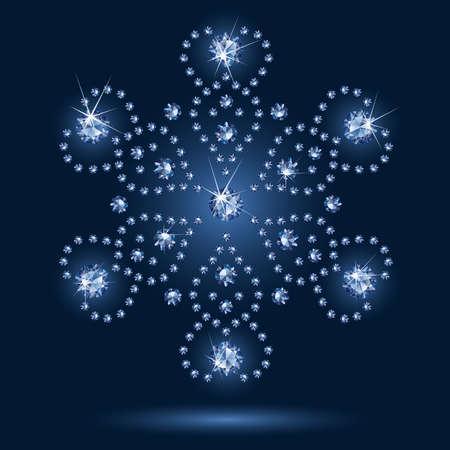 Snowflake diamond on a black background Vector