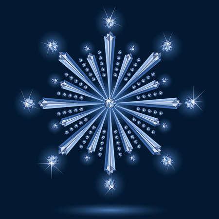 Snowflake diamond on a black background Stock Vector - 5535717