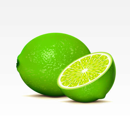 fruited: Two limes on a white background