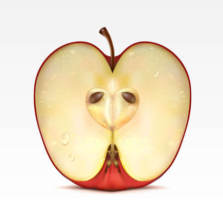 half an apple: Half a red apple on a white background