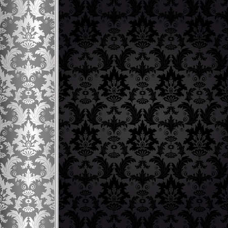 silver background: Background with silver flowers and leaves