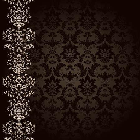 beige stof: Achtergrond met bruine bloemen en bladeren