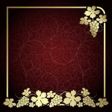 Claret background with  frame from gold vine Vector