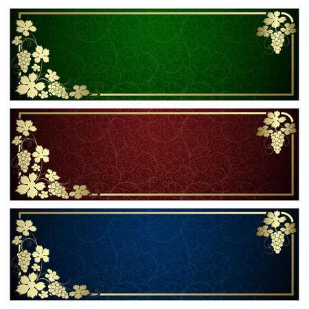 vid: Set de medios con el marco de la vid de oro Vectores