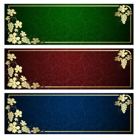 Set from  backgrounds with  frame from gold vine Stock Vector - 5781501