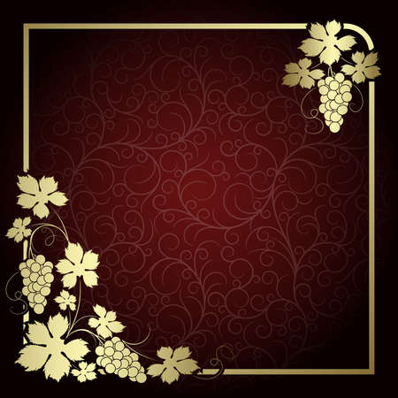 tendril: Claret background with  frame from gold vine Illustration