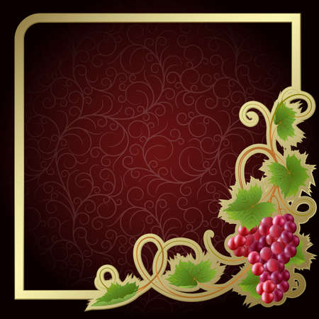 Claret background with gold frame and vine Stock Vector - 5781502