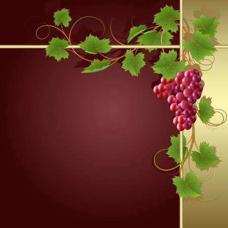 claret: Claret background with gold frame and vine Illustration