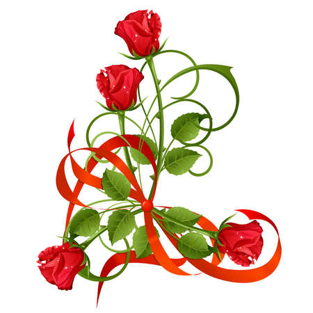 rosebud: Bouquet of red roses and bow.
