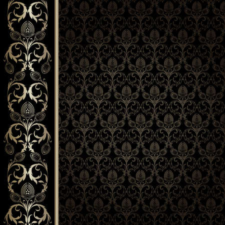 black silk: Black background with gold flowers and leaves Illustration