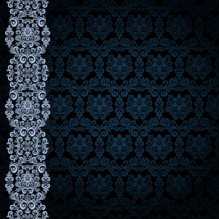 black silk: Black background with bluer flowers and leaves