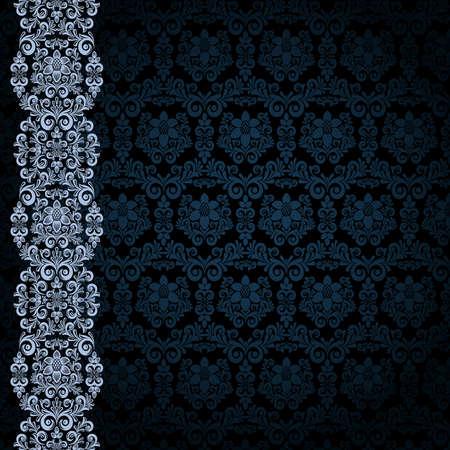 Schwarzer Hintergrund mit blauer Blumen und Blätter