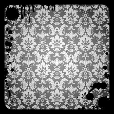 Grunge  background with gray damask  pattern and dirty Vector