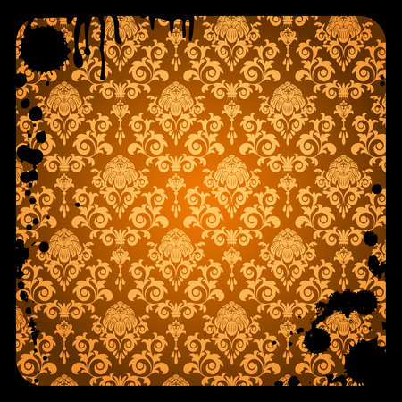 Grunge  background with brown damask  pattern and dirty Vector