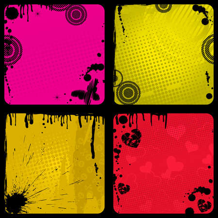 Set of four grunge backgrounds with dirty Vector