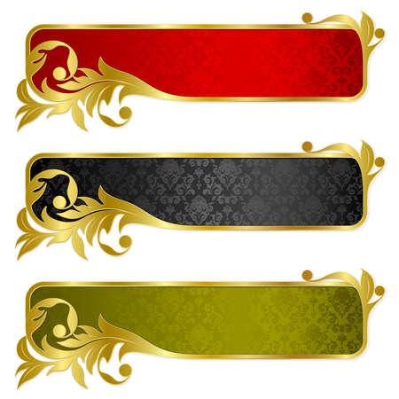 Festlegen von Banner mit gold frame  Standard-Bild - 6071379