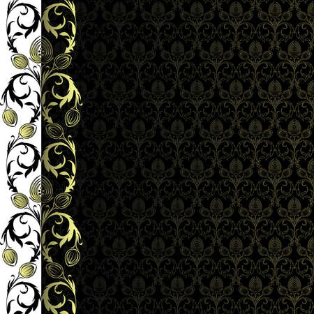 Background with gold flowers and leaves Stock Vector - 6085950