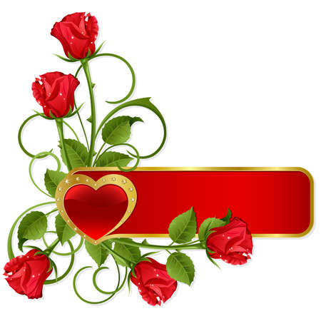 Background to the St.Valentine with gold heart and roses Vector