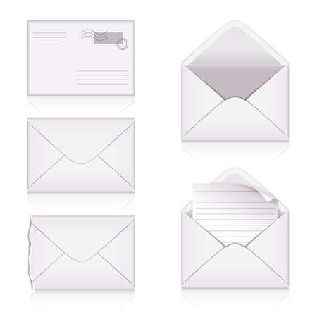 Set from  envelopes on white background Stock Vector - 6157101