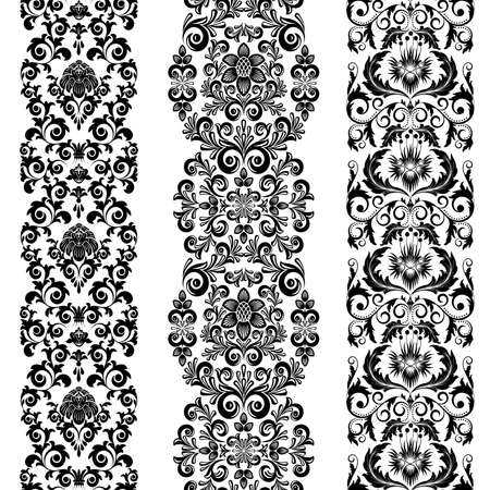 Set from three black and white borders Vector