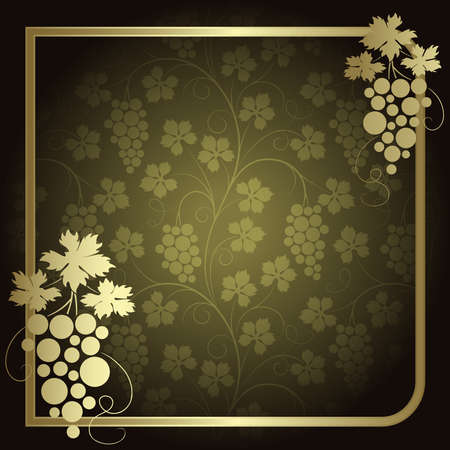 Green background with  frame from gold vine Stock Vector - 6527072