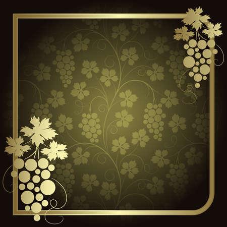 vines: Green background with  frame from gold vine Illustration