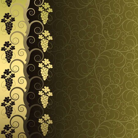 Green background with  frame from gold vine Vector