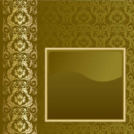 Brown background with flowers and leaves and gold frame. Vector