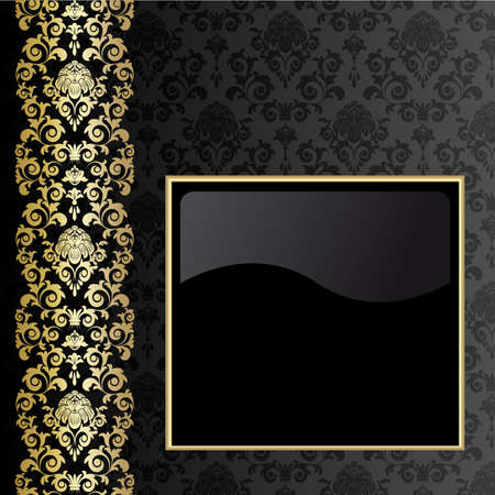 damask frame: Black background with flowers and leaves and gold frame.