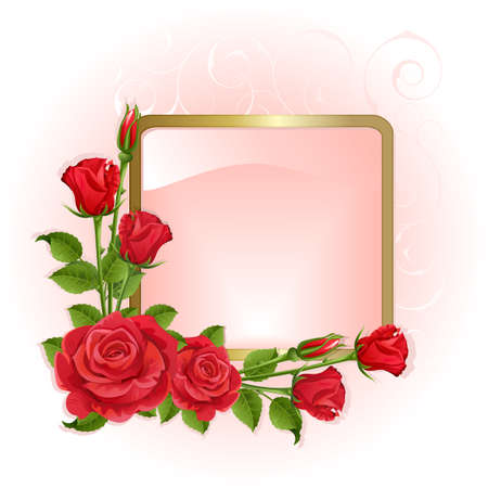 rosebuds: Pink background with red roses and gold frame.