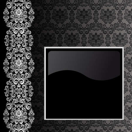 Black background with silver flowers and leaves Vector