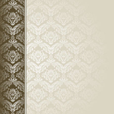 Brown and beige background with flowers and leaves . Vector