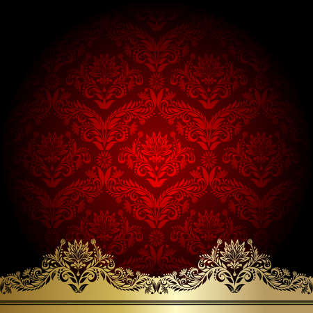 Red background with gold flowers and leaves Vector