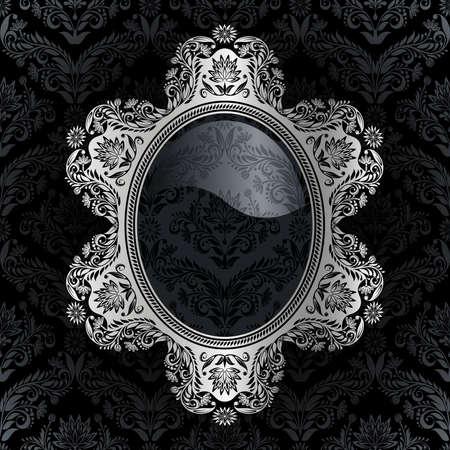 Cadre rétro sur le fond damassé noir
