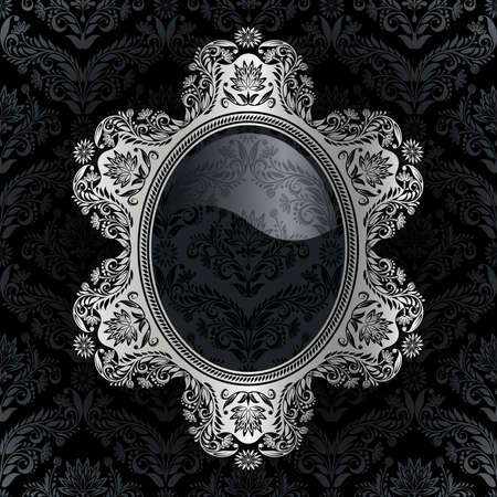 Retro frame on the black damask background Vector