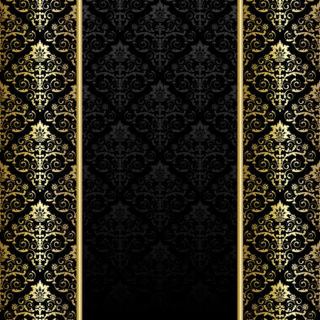 Black background with gold flowers and leaves Vector