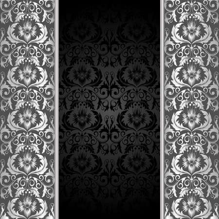 silver background: Black background with silver flowers and leaves