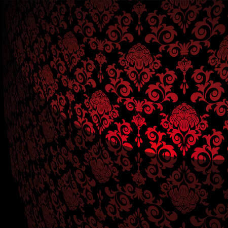 Black background with red flowers and leaves Vector