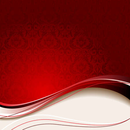 Red background with flowers and leaves and beige wave.