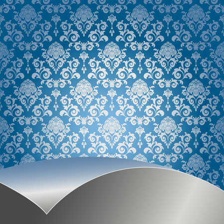 blue damask: Blue background with flowers and leaves and silver sheet .