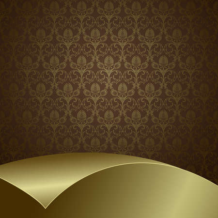 Brown background with flowers and leaves and gold sheet . Vector