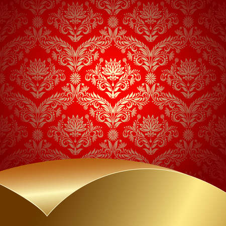 Red background with flowers and leaves and gold sheet . Stock Vector - 6821442